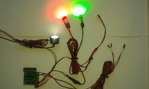 Flugzeug Set 3 Watt High Power LEDs 1x Lande. 2x Pos.Licht 2x ACL 2x Beacon mit Multi-Elektronik